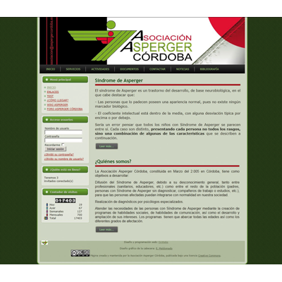 Website of the Asperger Association Cordoba. Nonprofit organization dedicated to serving people with Asperger Syndrome.